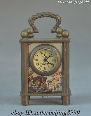 Old Collectibles Omega Clock Bronze Renaissance nude Girl picture watches Watch