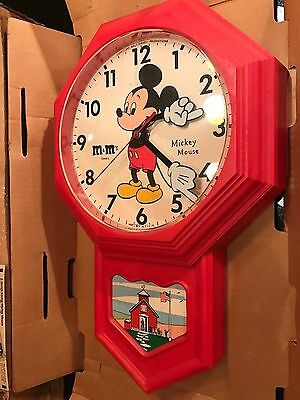 1974Mib Elgin Welby M&m Mars Premium Mailorder Promotion Mickey Mouse Wall Clock