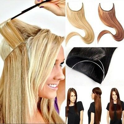 US Long Real Straight Curly Wire One Piece Clip in on Hair Extensions As Human