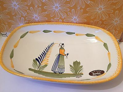"Keraluc Quimper France Faience Yellow Woman 9"" Oval Serving Bowl  F-162 Mint"