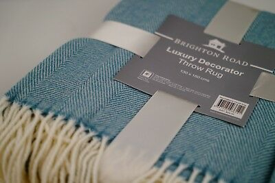 Luxury Classic design super Soft Herringbone throw rug blanket . 3 Colours! .