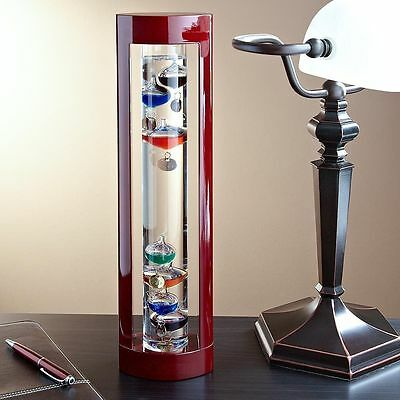 Lily's Home Galileo Thermometer, 17 Inch Tall, Wood Framed, Cherry Finish