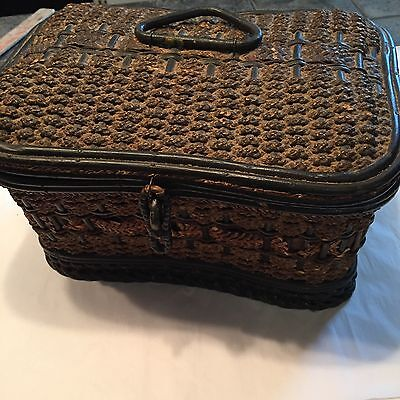 """Antique Sewing Basket Woven Straw Wood Base Satin Tufted Lining 11""""x7""""x6"""""""