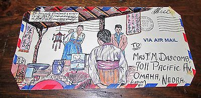 Amazing Korean War Us Army Hand Painted Envelope Art To Sweetheart Back Home   2