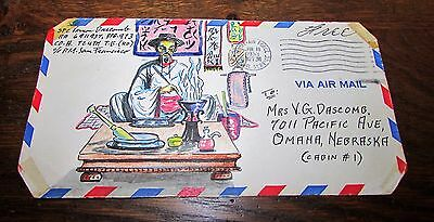 Amazing Korean War Us Army Hand Painted Envelope Art Chemist To Wife Back Home