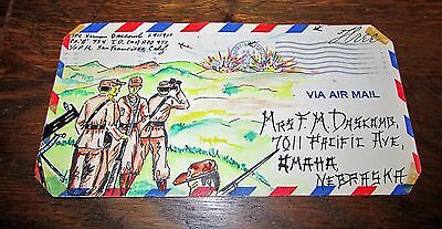 Amazing Korean War Us Army Hand Painted Envelope Art Soldiers To Wife At Home