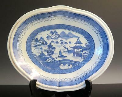 Antique Chinese Export Blue White Canton Porcelain Shaped Serving Dish Plate