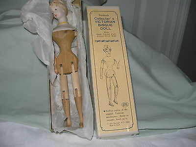 Handmade Vintage SHACKMAN Wood VICTORIAN Doll BISQUE Jointed