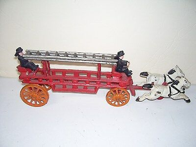 Metal Old time Fire Engine Wagon Pulled by Horses With Ladder Toy Good Condition