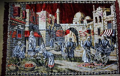 Area Rug 4x6 Middle Eastern Souk Tapestry Persian Islamic Bazaar Scene