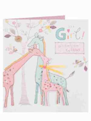 our family tree new baby girl birth handmade congratulations greeting card