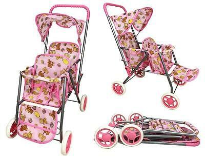 BR New Doll Tandem Twin Baby Double Sit Stroller Pram or Pets Stroller Kids Toys