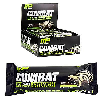 NEW MusclePharm Combat Crunch Chocolate Coconut 12ct 20g Protein Bar Gluten-Free