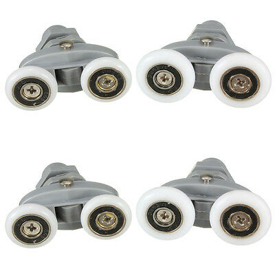 4x 20mm 23mm Twin Shower Door Rollers Runners Sliders Zinc Alloy Diameter Wheels