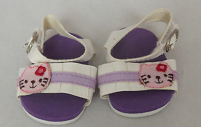 Purple / White Kitty Sandals, Doll Shoes 4 Zapf Baby Born / Baby Alive