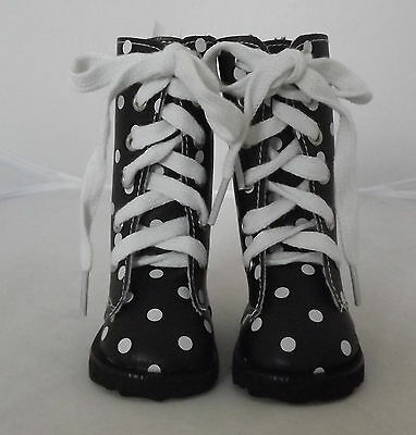 Long Black Boots with white spots, Dolls Shoes 4 Zapf Baby Born / Baby Alive