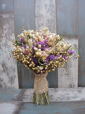 Wedding Dried Flowers Bridal Bouquet Mother's Day Purple Natural Country Harvest