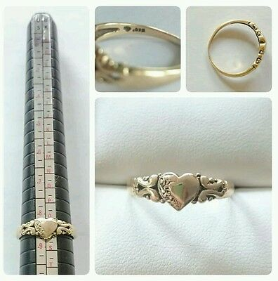 9ct heavy yellow gold heart ring