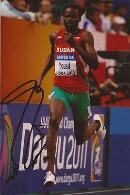 ATHLETICS: RABAH YOUSIF SIGNED 6x4 ACTION PHOTO+COA *SUDAN*