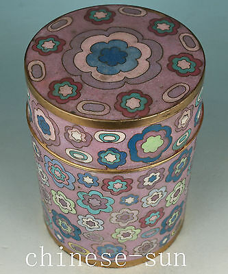 big Chinese Old Cloisonne Handmade Painting Flower Collect Tea Caddy Pot Box