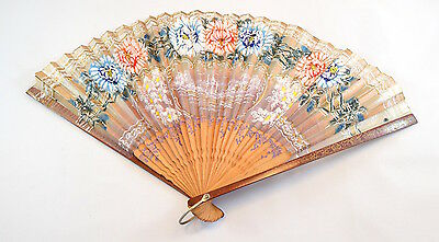 Vintage wood and paper oriental hand fan with hand painted decoration -beautiful