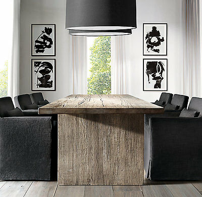 Dining Table Solid OAK Distressed Rustic Table, slab