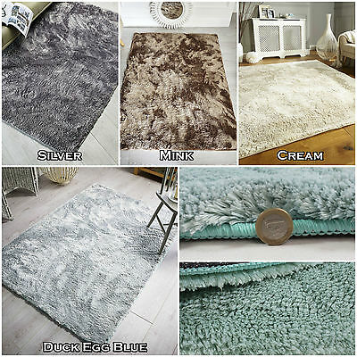 Large Small Polyester Mettalic Colour Non Shed Modern Soft Quality Shag Wisp Rug