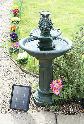 Birdbath Water Fountain Feature Cascade Solar Powered Classical Stone Effect