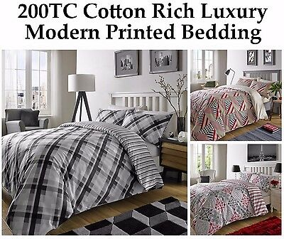 Luxury Check Geometric Grey Reversible Duvet Quilt Cover Bedding Set All Sizes