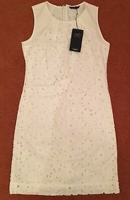 M&S COLLECTION Lined Sleeveless Dress - White Cotton Chicken Fabric UK Size 10