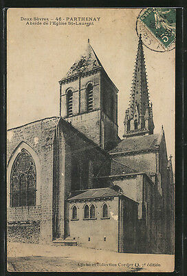splendide CPA Parthenay, Abside de l´Eglise St-Laurent 1908