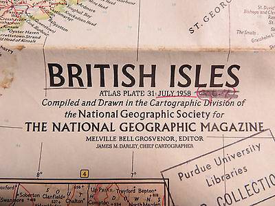 """Vintage 1958 National Geographic Map - British Isles - 19"""" x 25"""""""