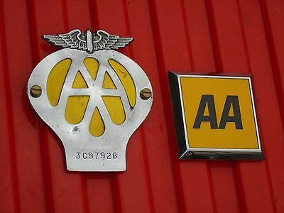 Vintage Automobile Association (AA) car grille badges.