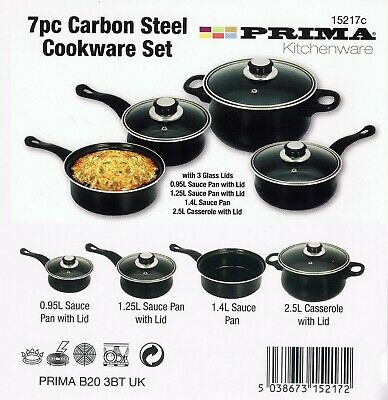 Black Carbon Steel Cookware Set 7Pc Pots And Pan Induction Set Glass Lid Frying