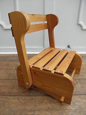 Childs Wooden Folding Step Stool Seat