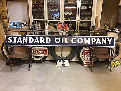 ORIGINAL VIinTaGE 10' STANDARD OIL COMPANY STRIP SIGN Gas PORCELAIN SSP Old