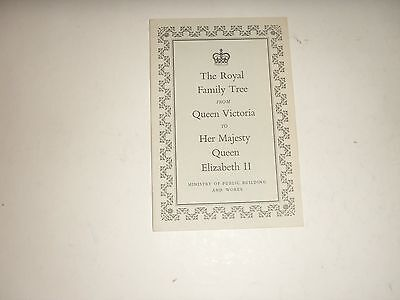 The Royal Family Tree Victoria to HM Elizabeth II 1962 printed chart
