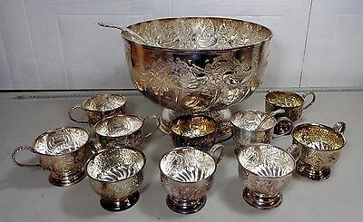Vintage Old Large Quality Hand Chased Silver Plate Punch Bowl With 10 Cups