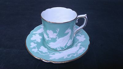 Vintage Royal Crown Derby Chinese Birds raised pattern Coffee Cup/Can & Saucer