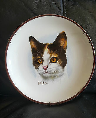 Vintage china Tortoiseshell cat plate  by Derick Bown signed Crown Staffordshire