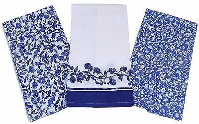 Pack Of 3 Blue White Floral Berry 100% Cotton Tea Towels 45Cm X 65Cm