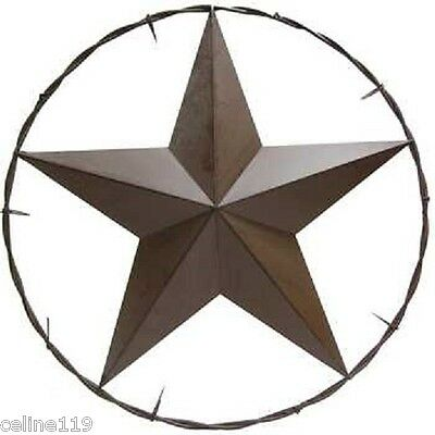 """Metal Barn Star in Circle Large Texas Western 25"""" Home decor 5 POINT STAR"""
