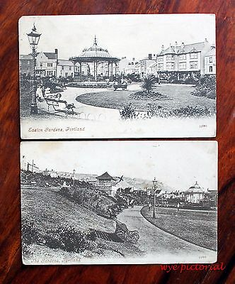 2 X Early Printed Postcards Dorset Portland Easton Gardens Bandstand Children