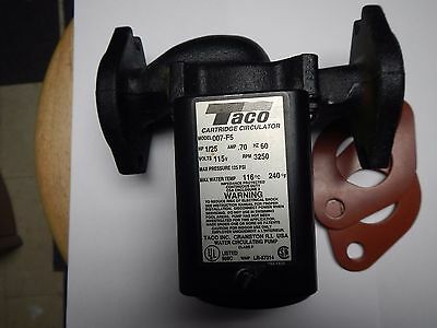 Taco 007 Cast Iron Circulator Pump, 1/25 HP Black With Gaskets