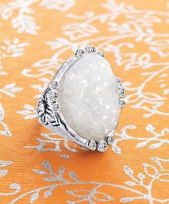 Silpada Beauty In The Rough Druzy Stone Ring Sterling Silver NEW sz 11