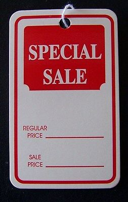 "200 Merchandise Strung Price Sale String Display Tags 1 3/4"" x 2 7/8"""