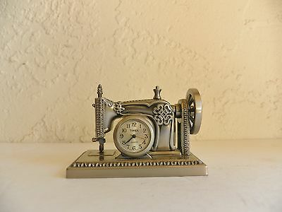 Vintage Timex Collectable Mini Clock Sewing Machine Pewter
