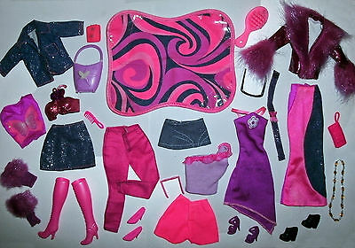 Barbie Doll clothes lot: Sparkle denim & pink butterfly Mix & Match lot - VGC