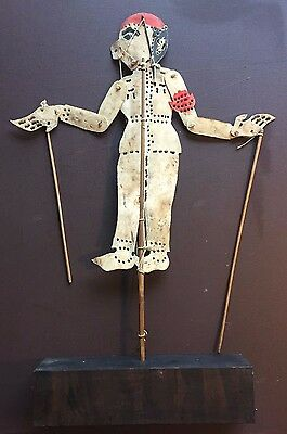 Vintage Primitive Asian Hide Shadow Puppet on Wooden Stand