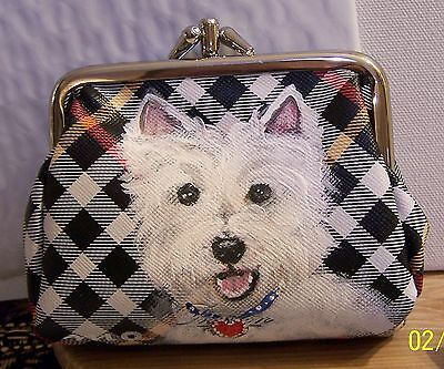 West Highlander white Terrier dog art Buxton double entry coin purse bag deal